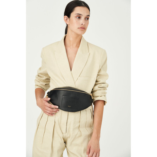 Oroton Muse Belt Bag And Crossbody in Black and Two Tone Saffiano/Smooth Leather for female