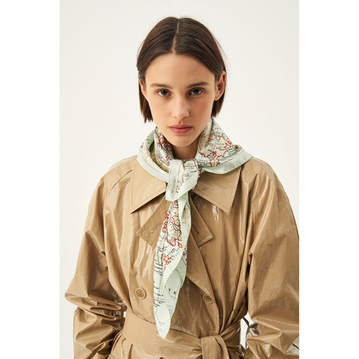 Oroton Map Print Scarf in Map Print and 100% Silk for female