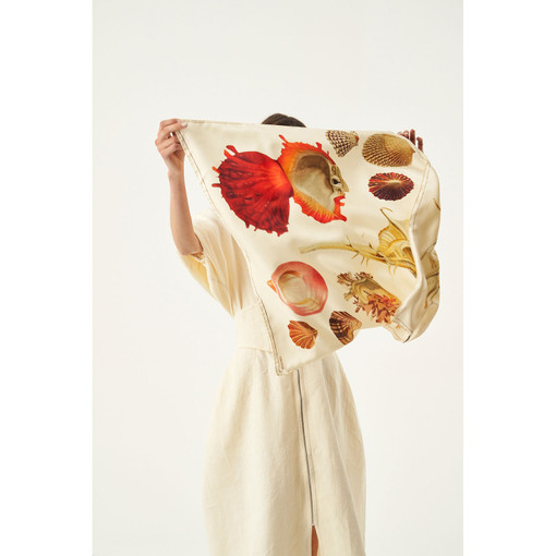 Oroton Ocean Shell Scarf in Shell Print and 100% Silk for female