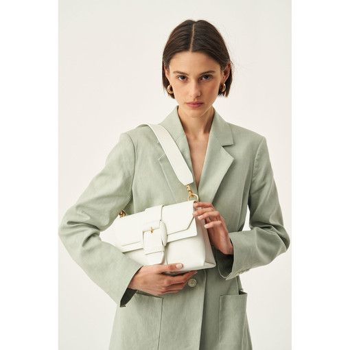 Oroton Frida Medium Satchel in Pure White and Smooth Leather for female