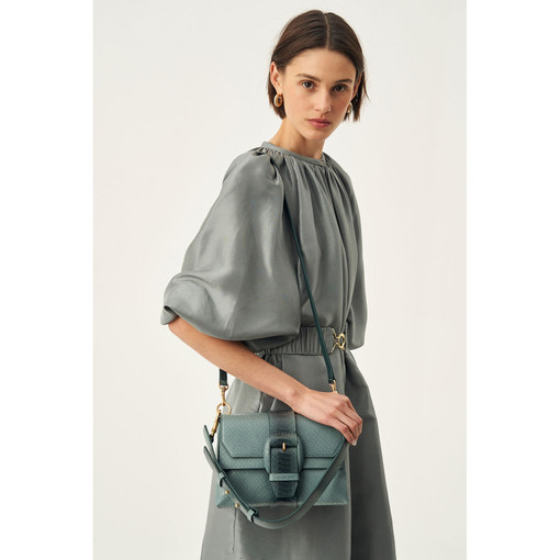 Oroton Frida Medium Satchel in Teal Snake and Smooth Leather for female