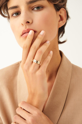Oroton Peta Ring Set in Gold/Clear and null for female