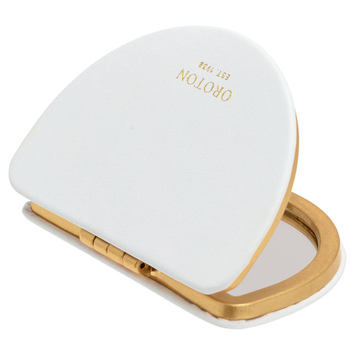 Oroton Ivy Metal Compact Mirror in Ice Blue and Smooth Leather for female
