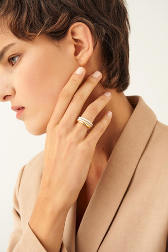 Oroton Lille Triple Ring Set in Gold/Wafer/Cream and null for female