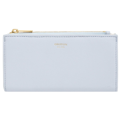 Oroton Luna Zip Fold Wallet in Sky Blue and Smooth Leather for female