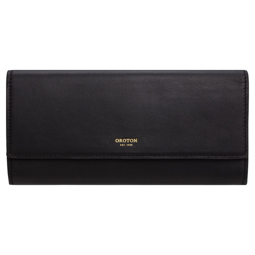 Oroton Luna Bifold Wallet in Black and Smooth Leather for female