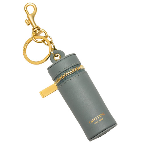 Oroton Charlie Lipstick Key Ring in Sage and Smooth Leather for female