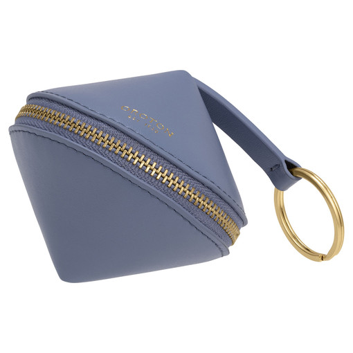 Oroton Charlie Diamond Key Ring in Cornflower and Smooth Leather for female