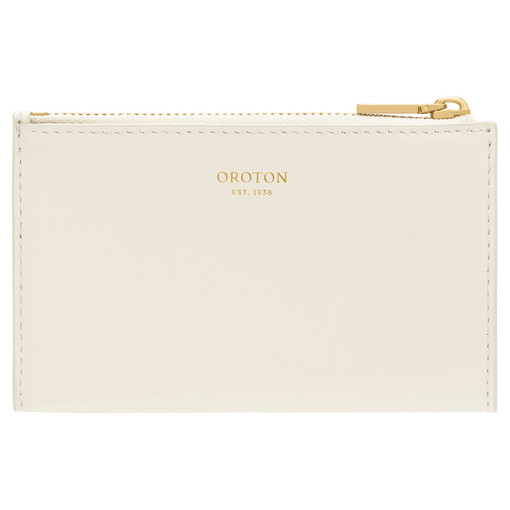 Oroton Petra 4 Credit Card Mini Zip Pouch in Clotted Cream and Smooth Leather for female
