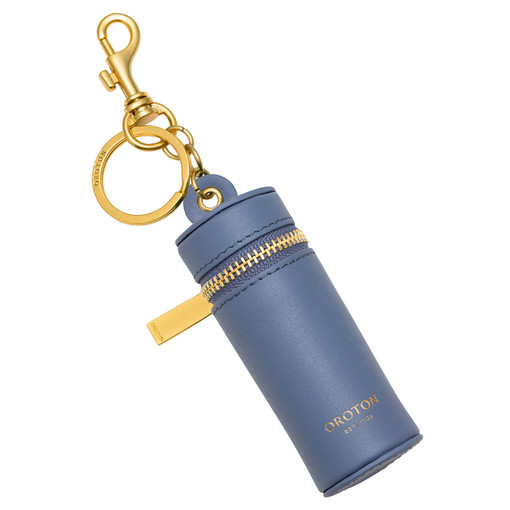 Oroton Charlie Lipstick Key Ring in Cornflower and Smooth Leather for female