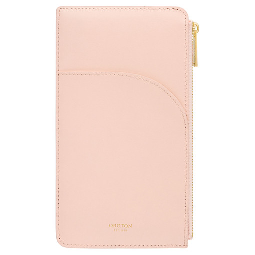 Oroton Charlie Phone Pouch in Soft Pink and Smooth Leather for female