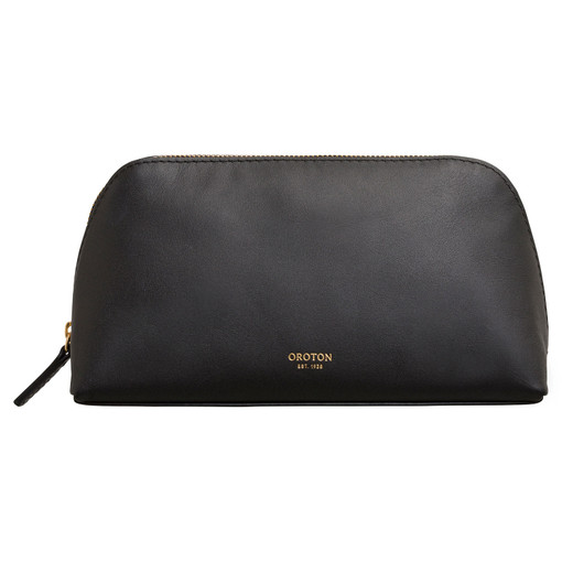 Oroton Venture Medium Beauty Case in Black and Smooth Leather for female