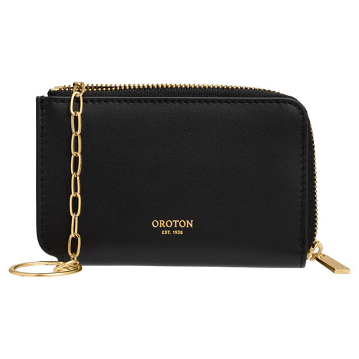 Oroton Charlie Key Holder in Black and Smooth Leather for female