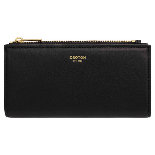 Oroton Luna Zip Fold Wallet in Black and Smooth Leather for female