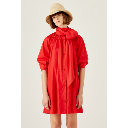 Oroton Cotton Full Sleeve Shirt Dress in Rouge and 100% Cotton for female
