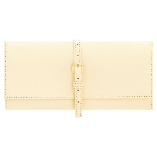 Oroton Avani Jewellery Roll in Pale Lemon and 60% off-cut leather fibres, 30% vegetable origin, 10% synthetic for female