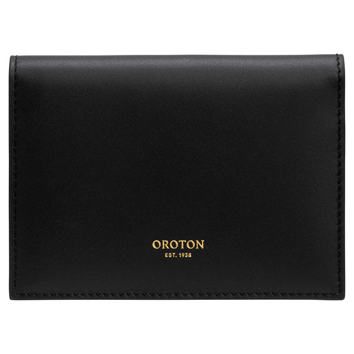 Oroton Frida Small Fold Wallet in Black and Smooth Leather for female