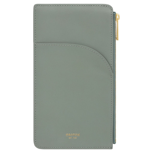 Oroton Charlie Phone Pouch in Sage and Smooth Leather for female