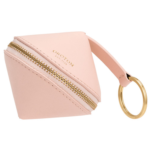 Oroton Charlie Diamond Key Ring in Soft Pink and Smooth Leather for female