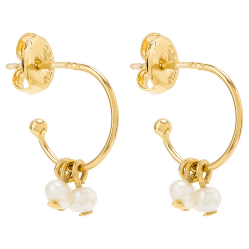 Oroton Petite Bailey Mini Hoops in Gold/Pearl and Brass Based Metal With Precious Metal Plating/Fresh Water Pearl for female