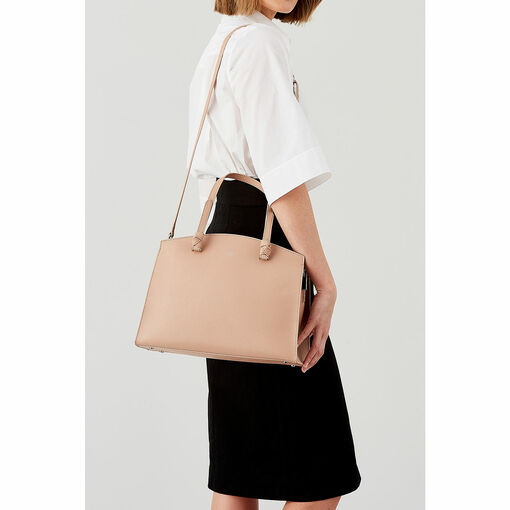 Oroton Atlas Day Bag in Biscuit and Pebble Leather for female