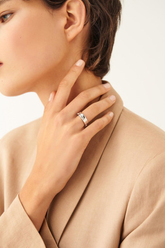 Oroton Peta Ring Set in Silver/Clear and Brass Based Metal With Precious Metal Plating/Crystal for female