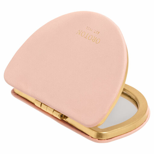 Oroton Ivy Metal Compact Mirror in Soft Pink and Smooth Leather for female