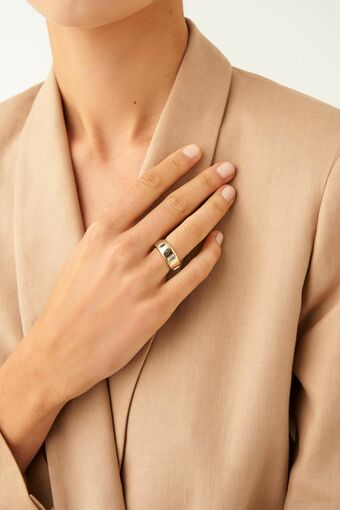 Oroton Peta Wide Ring in Gold/Clear and null for female