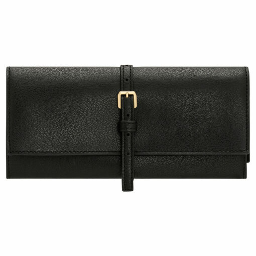 Oroton Avani Jewellery Roll in Black and 60% off-cut leather fibres, 30% vegetable origin, 10% synthetic for female