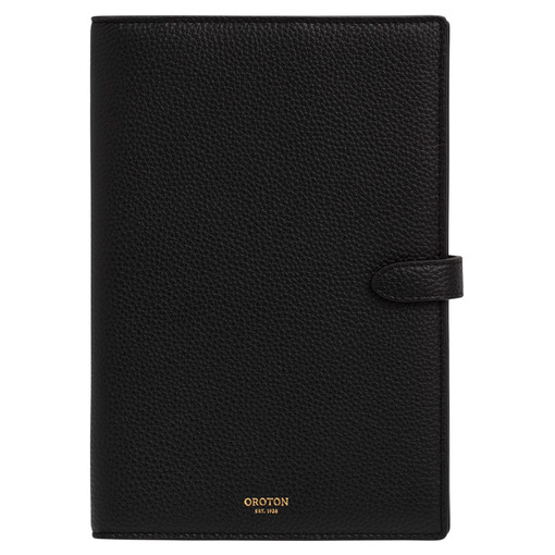 Oroton Jude A5 Notebook Cover in Black and Pebble Leather for female