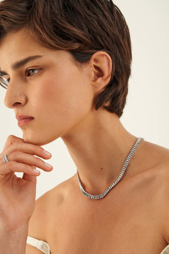 Oroton Etoile Necklace in Silver/Clear and Brass Based Metal With Precious Metal Plating/Zirconia for female