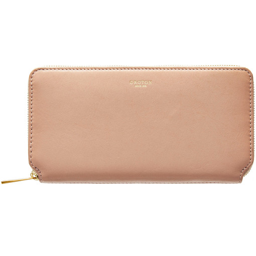 Oroton Solo Medium Zip Wallet in Biscuit and Nappa Leather for female