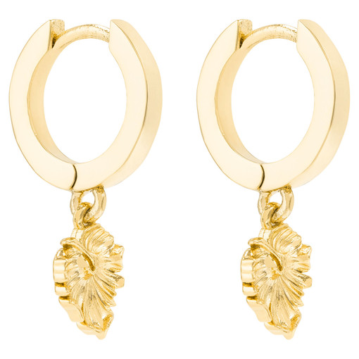Oroton Petite Leaf Mini Hoops in Gold and Brass Based Metal With Precious Metal Plating for female