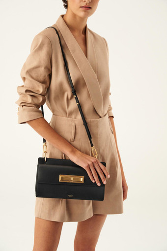 Oroton Luna Day Bag in Black and Smooth Leather for female