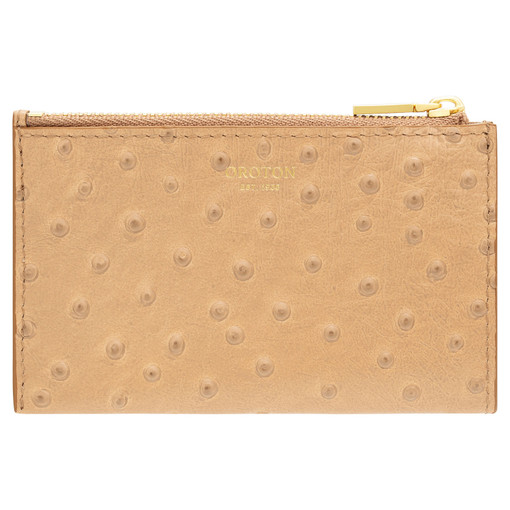 Oroton Leia 4 Credit Card Zip Pouch in Praline and Ostrich Emboss Leather for female