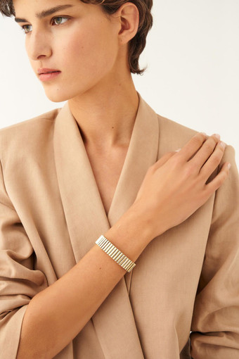 Oroton Tate Bangle in Gold and Brass Based Metal With Precious Metal Plating for female