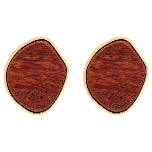 Oroton Cendre Earrings in Wood/Gold and Brass Based Metal With Precious Metal Plating/Wood for female
