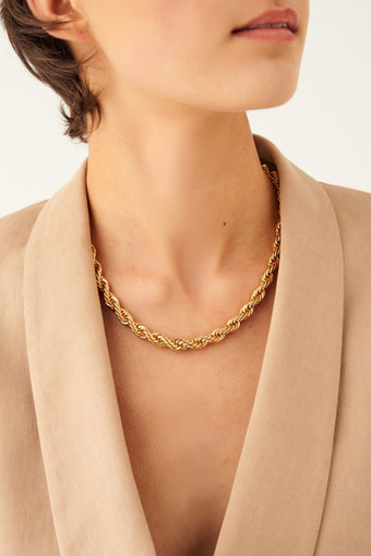 Oroton Luna Thin Necklace in Gold and Brass Based Metal With Precious Metal Plating for female