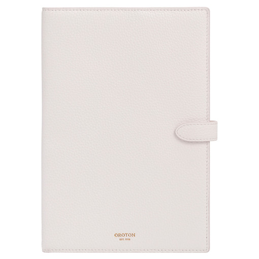 Oroton Jude A5 Notebook Cover in Pure White and Pebble Leather for female