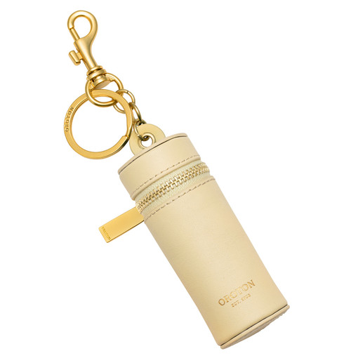 Oroton Charlie Lipstick Key Ring in Lemon Curd and Smooth Leather for female
