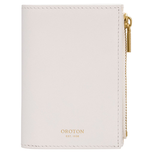 Oroton Arden Mini 10 Credit Card Zip Wallet in Pure White and Smooth Leather for female