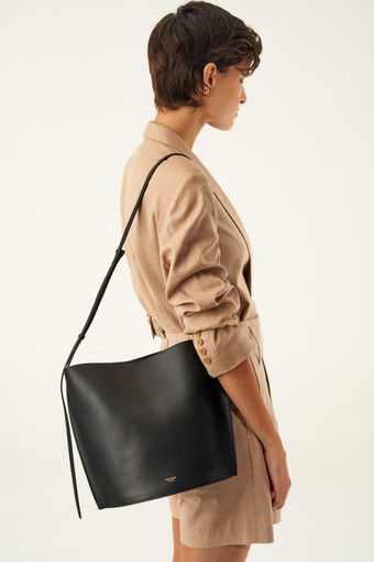 Oroton Aimee Bucket Bag in Black and Smooth Leather for female