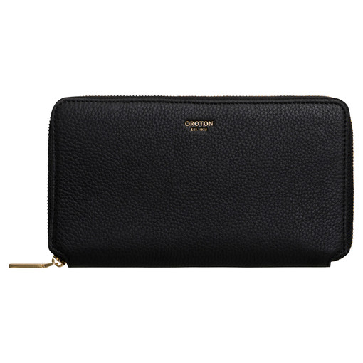 Oroton Duo Book Wallet in Black and Pebble Leather for female