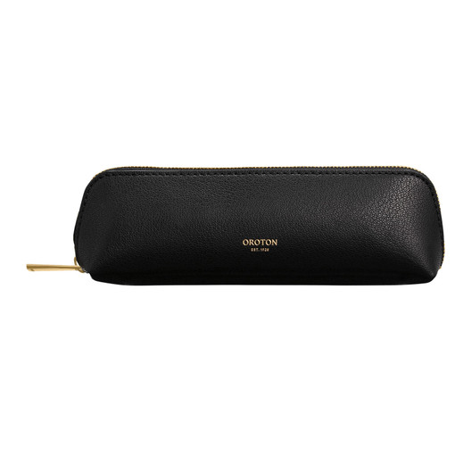 Oroton Avani Pencil Case in Black and 60% off-cut leather fibres, 30% vegetable origin, 10% synthetic for female