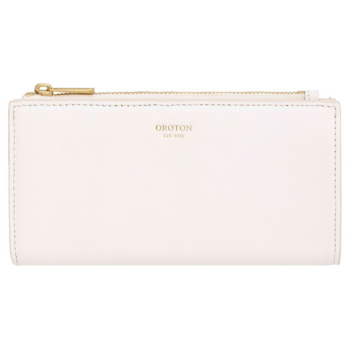 Oroton Luna Zip Fold Wallet in Pure White and Smooth Leather for female