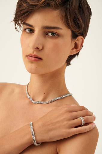 Oroton Etoile Bracelet in Silver/Clear and Brass Based Metal With Precious Metal Plating/Zirconia for female