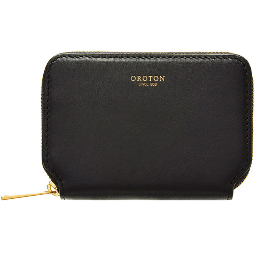 Oroton Solo Mini Zip Wallet in Black and Nappa Leather for female
