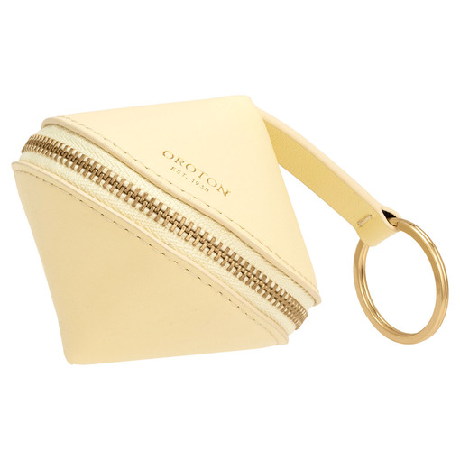 Oroton Charlie Diamond Key Ring in Lemon Curd and Smooth Leather for female