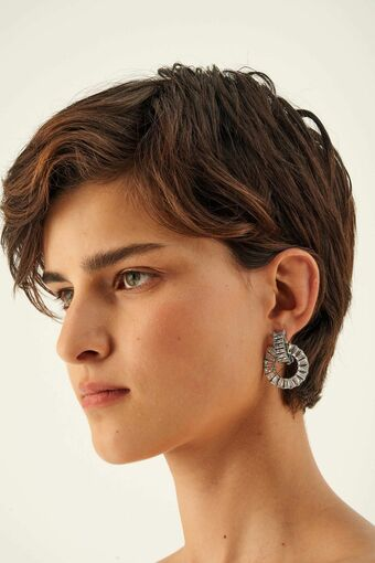 Oroton Etoile Clip On Hoops in Silver/Clear and Brass Based Metal With Precious Metal Plating/Zirconia for female