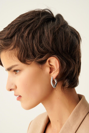 Oroton Aubrey Stone Large Earrings in Silver/Clear and null for female